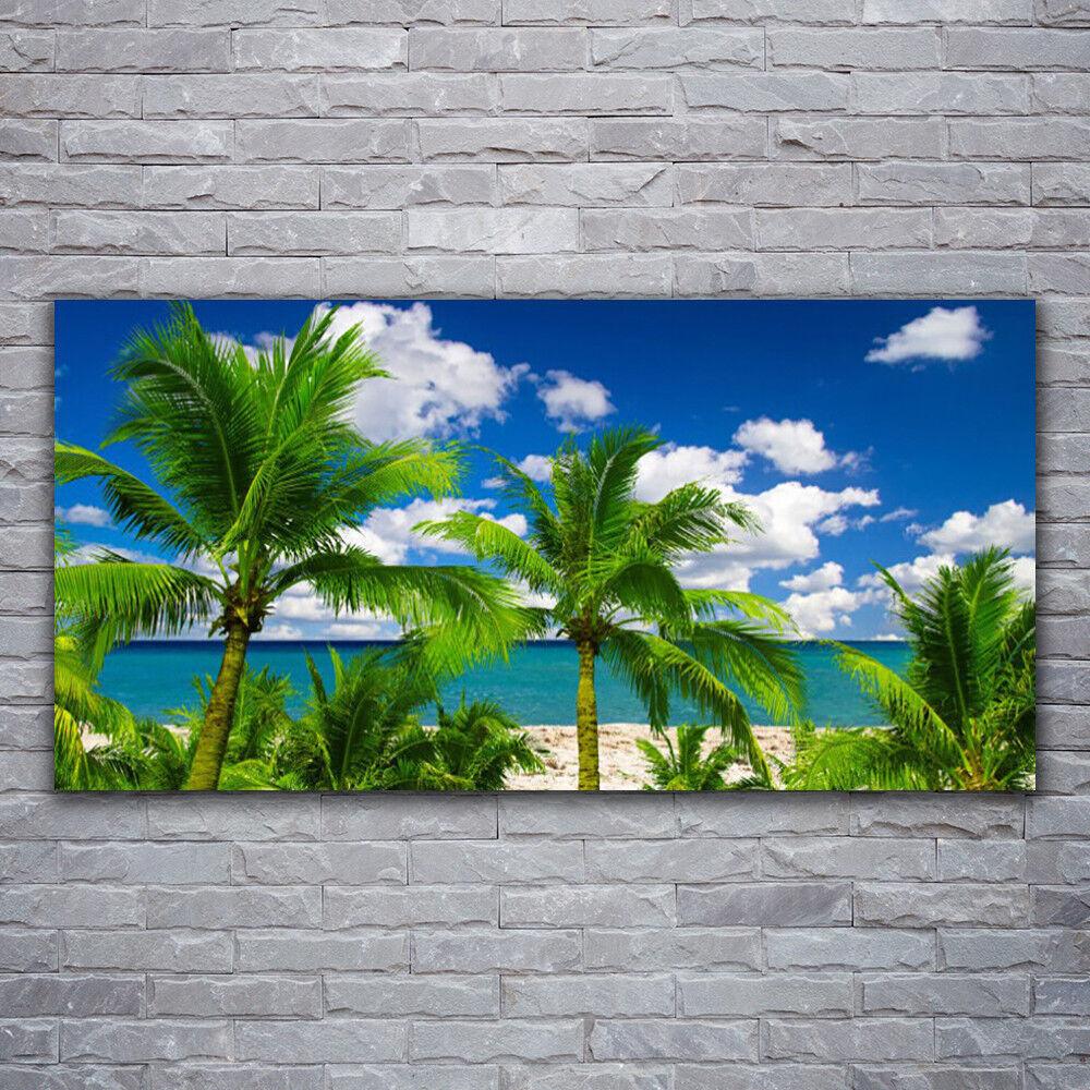 Photo sur toile Tableau Image Impression 120x60 Paysage Palmiers Mer