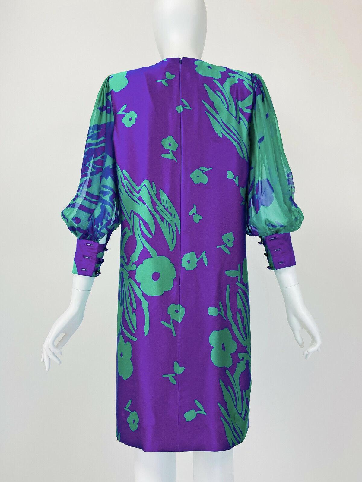 Designer Vintage 80s Silk Dress PAULINE TRIGERE S… - image 6