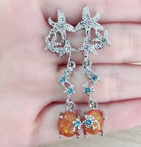 Fashion-Starfish-Womne-Silver-Fire-Opal-Gem-Wedding-Proposal-Hoop-Stud-Earrings