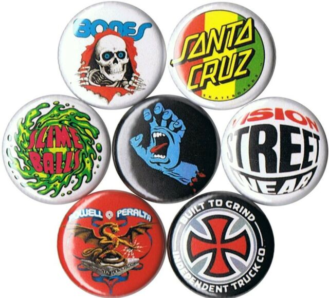 set of 7 old school skateboard buttons pins buttons badges 80s