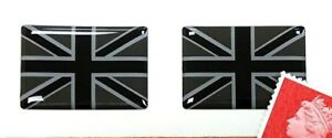 2-x-Union-Jack-Flag-Stickers-Domed-Finish-Black-amp-2-Tone-Grey-30mm