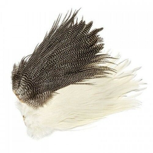 Fly Tying Capes, Genetic Saddles, White or Grizzle, 2nd Grade, Fly Tying Feather