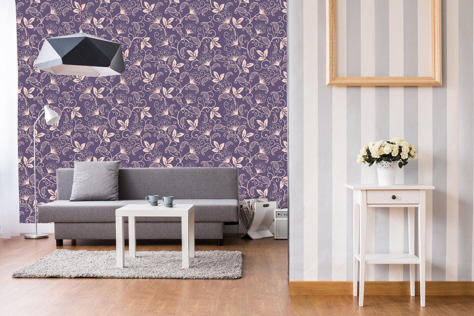 3D lila Floral Pattern 41 Wallpaper Murals Wall Print Wallpaper Mural AJ WALL