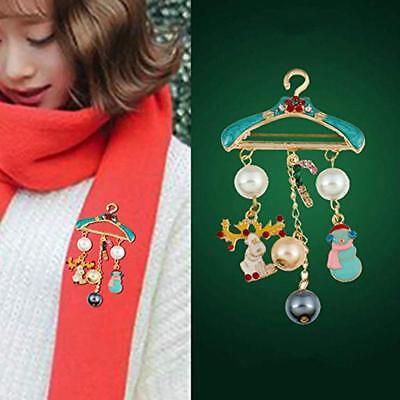 Christmas Snowman Bead Pendant Hanger Shape Brooch Collar Pin Badge Y