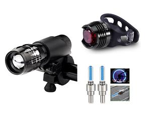 Front-zoom-amp-rear-LED-amp-wheel-valve-LEDs-bike-lights-set-road-mountain-bicycle