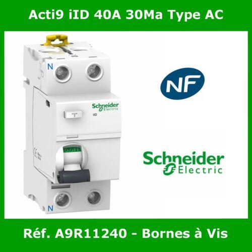 Interrupteur Différentiel Schneider Acti9 iID 2P 40A 30MA TYPE AC Réf A9R11240
