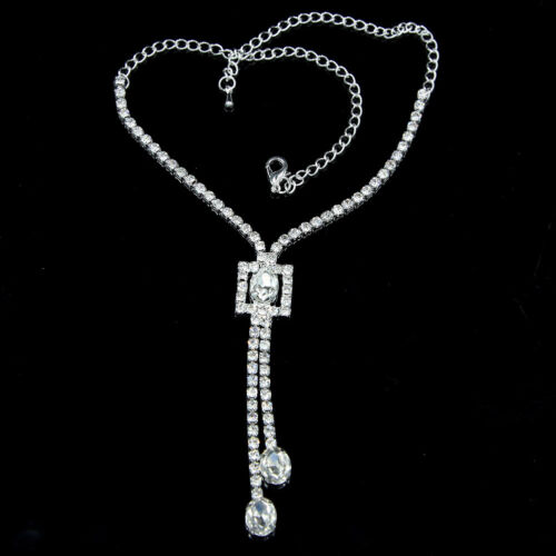 1Pc Fashion Argent Cristal Strass Collier Femmes Pendentif long pull chaîne