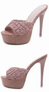 Sandali stiletto sabot ciabatte 14 cm rosa simil pelle simil pelle eleganti 8924