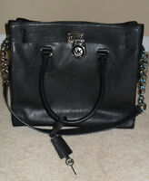 Michael Kors Hamilton Black Silver Large North South Leather Tote Bag