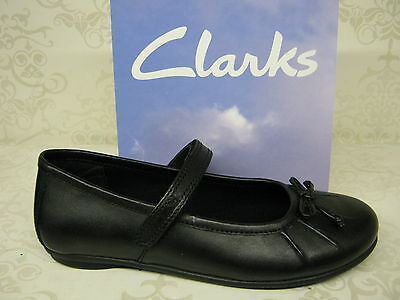 Girls Clarks Tasha Ally Inf Black Leather Smart School Shoes