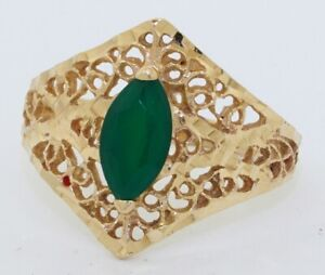 14K-gold-9-4-X-5-3mm-Marquise-chalcedony-solitaire-filigree-cocktail-ring-size-9