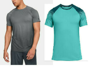 NWT-Under-Armour-Men-039-s-Large-MK-1-Dash-Print-Short-Sleeve-Shirt-Gray-or-Blue