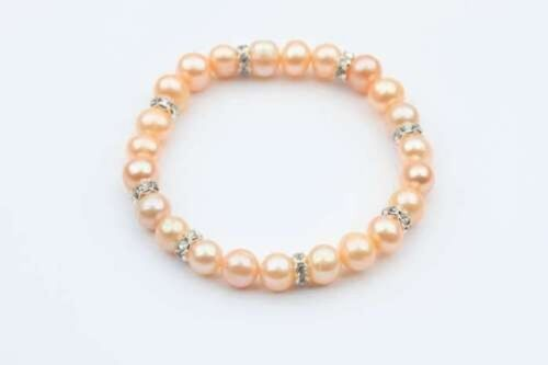 JTY780 8mm Freshwater Pearl With Crystal Stud Spacer Bracelets Pink Colour