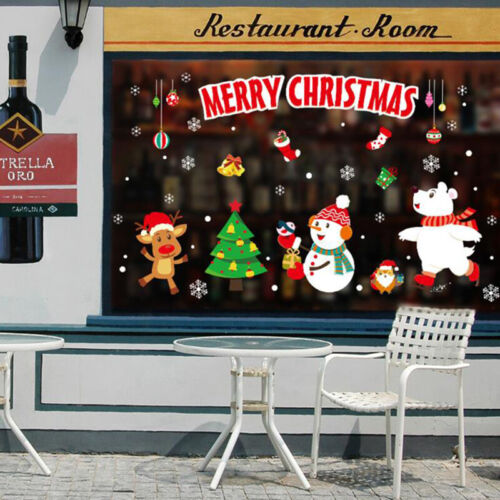 1PC Removable Window Door Sticker Merry Christmas Decals New Year Mural Decor GD