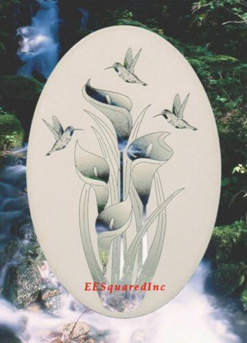 Lily Hummingbirds Window Decal OVAL 21x33 Static Cling Sliding Glass Door Decor