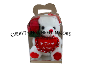 "WHITE TEDDY BEAR 6"" With Clear box /& Red rose