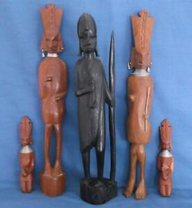 COLLECTION OF FIVE VINTAGE AFRICAN CARVED WOOD FIGURES