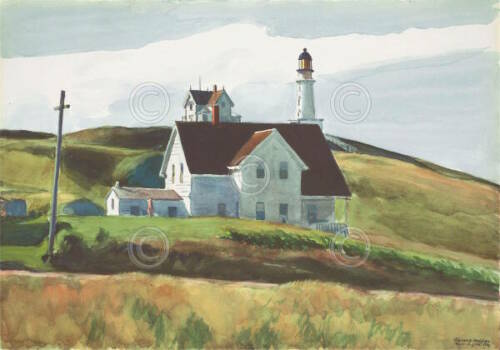 Hill and Houses Cape Elizabeth Maine Edward Hopper Lighthouse Print Poster 11x14