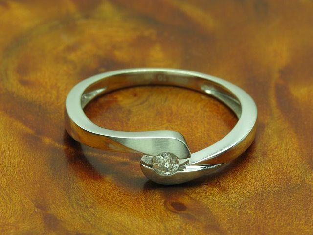 14kt 585 whitegold Ring mit 0,10ct Brillant Solitär Besatz   Diamant   RG 56