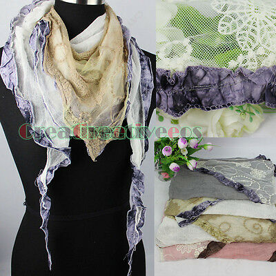 Embroidery Floral Tulle Lace Stitching Slub Cotton 2-Layer RuffleTriangle Scarf