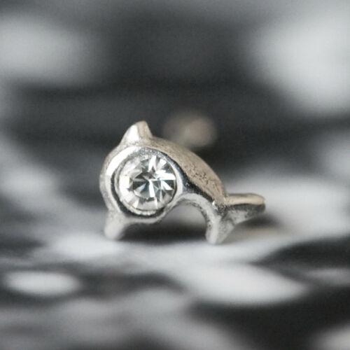 NEU 925 Silber DELFIN NASENSTECKER mit STRASSSTEIN crystal//klar PIERCING DELPHIN