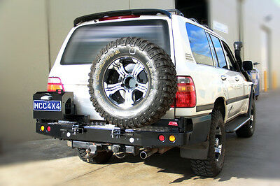 MCC STEEL REAR BAR TWIN SWING AWAY WHEEL CARRIERS SUIT TOYOTA LANDCRUISER 105