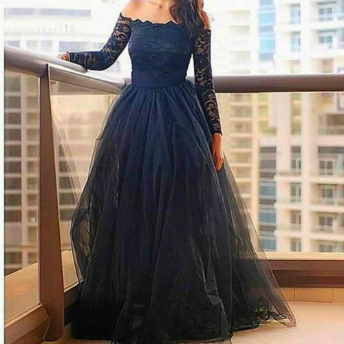Off Off Off Shoulder Long Sleeve Prom Dresses Lace Tulle Formal Evening Party Gowns 2bca69