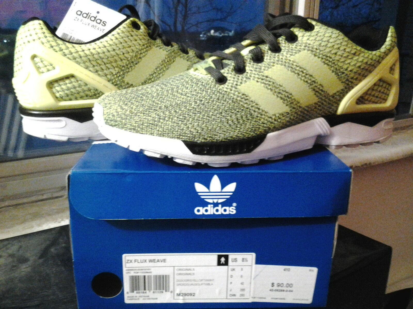 Adidas ZX Flux Weave Torsion Volt Yellow Neon Green Soft Grey Black White M29092