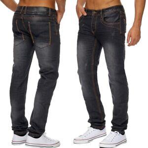 Herren-Jeans-Hose-Ziernaht-Klassisch-straight-denim-club-Neu-stone-washed-slim