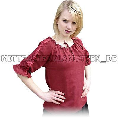 leichte BLUSE, 4 FARBEN, XXS-XXXL, Mittelalter Baumwolle Carmen Mittelalterbluse
