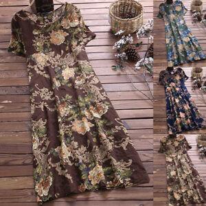 Plus-Size-Women-Floral-Boho-Midi-Dress-Ladies-Short-Sleeve-Maxi-Sundress-Holiday