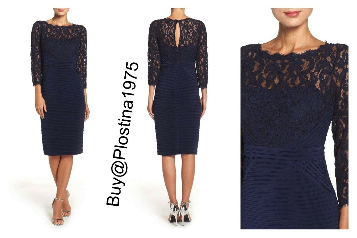 NWT  Adrianna  Papell Midnight  Lace Top Banded Sheath Dress[ Größe  8] D133