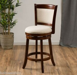 Modern 24 Quot Inch Fabric Swivel Back Counter Height Stool