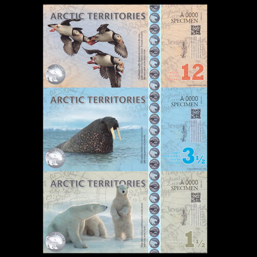 1.5 3.5 12 Dollars Arctic Territories uncut set 3 Sheet 2014 UNC Specimen