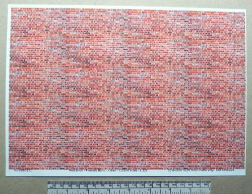 flemish Bond Sauber A4 Roter Ziegelstein Selbstklebend Vinyl 1:3 2nd Maßstab
