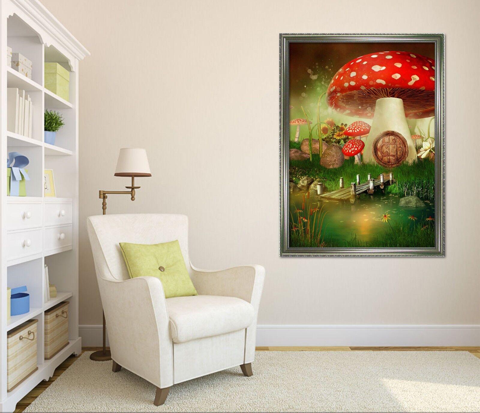3D Mushroom House 69 Framed Poster Home Decor Print Painting Art AJ UK