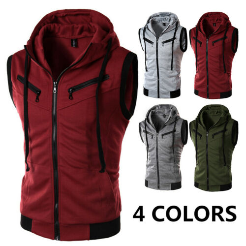 Mens Zipper Sleeveless Hoodie Sweatshirt Hooded Jacket Vest Coat Tops Outwear