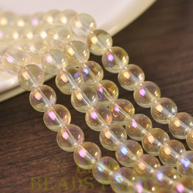 New 15pcs 10mm Electroplating Crystal Glass Round Loose Spacer BeadsYellow