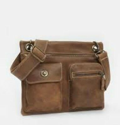 ROOTS Canada Genuine Brown Leather Flat Crossbody Messenger Bag Village Prince