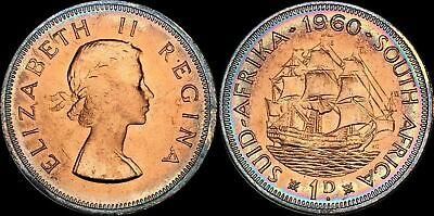1960 South Africa 1 Penny Elizabeth Ii Beautiful Circle Toned In High Grade Clear-Cut Texture