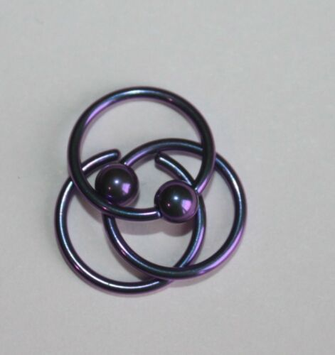 16g 1.2mm Titanium color CBR Captive Bead Ring Body Piercing 1//4 to 1//2 inch