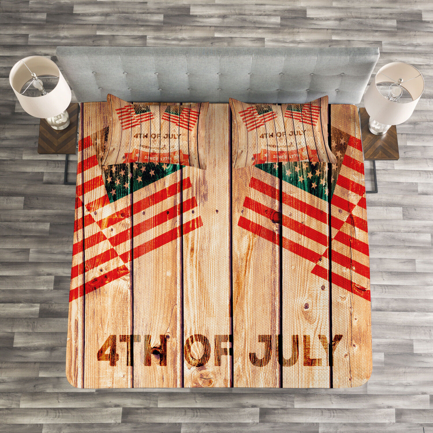 4th of July Quilted Bedspread & Pillow Shams Set, Wooden Planks Flag Print