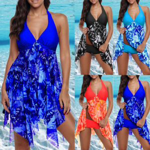 Details about Women Two Piece Tulle Tankini Swimdress Swimsuit Swimwear UK  Plus Size Beachwear