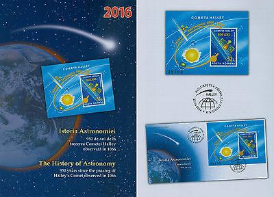 Rumänien 2016 Astronomie,kosmos,halleyscher Komet,satellit Block 665 Rumänien fdc. Briefmarken
