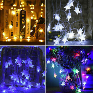 Star-LED-Light-String-Hanging-Curtain-Window-Bedroom-Xmas-Fairy-Lamp-Decor-RO