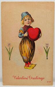 Valentine-Greetings-1912-Lawton-Heart-Flower-USA-Postcard-Ak-A2450