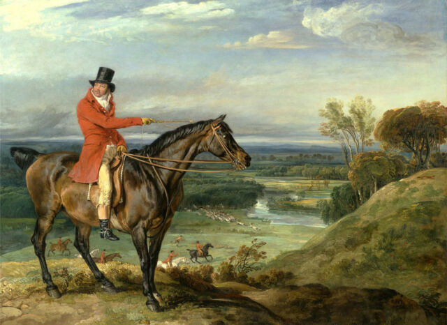 Excellent Oil painting horseman count riding horse in landscape Hand painted art