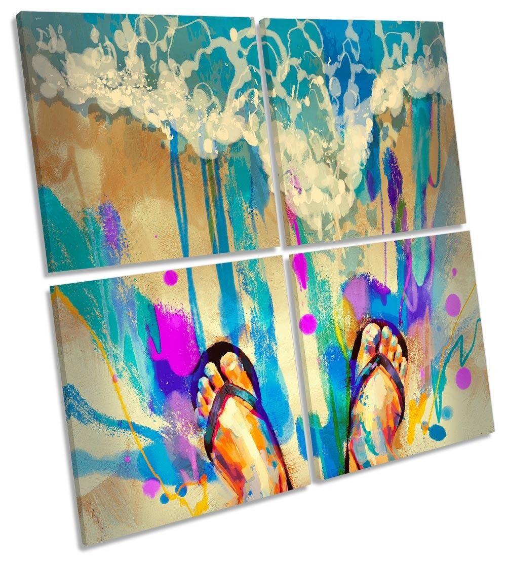Beach Flip Flops Surf MULTI CANVAS WALL ARTWORK Square Art