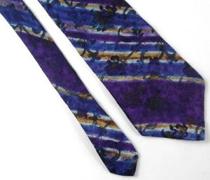 Liberty-of-London-Necktie-Tie-Silk-Blue-White-Green-Floral-Paisley-Plants