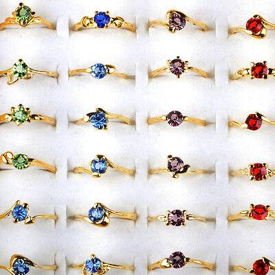20pcs Wholesale Jewelry lots Mixed Colors Zircon Crystal Rhinestone Gold P Rings